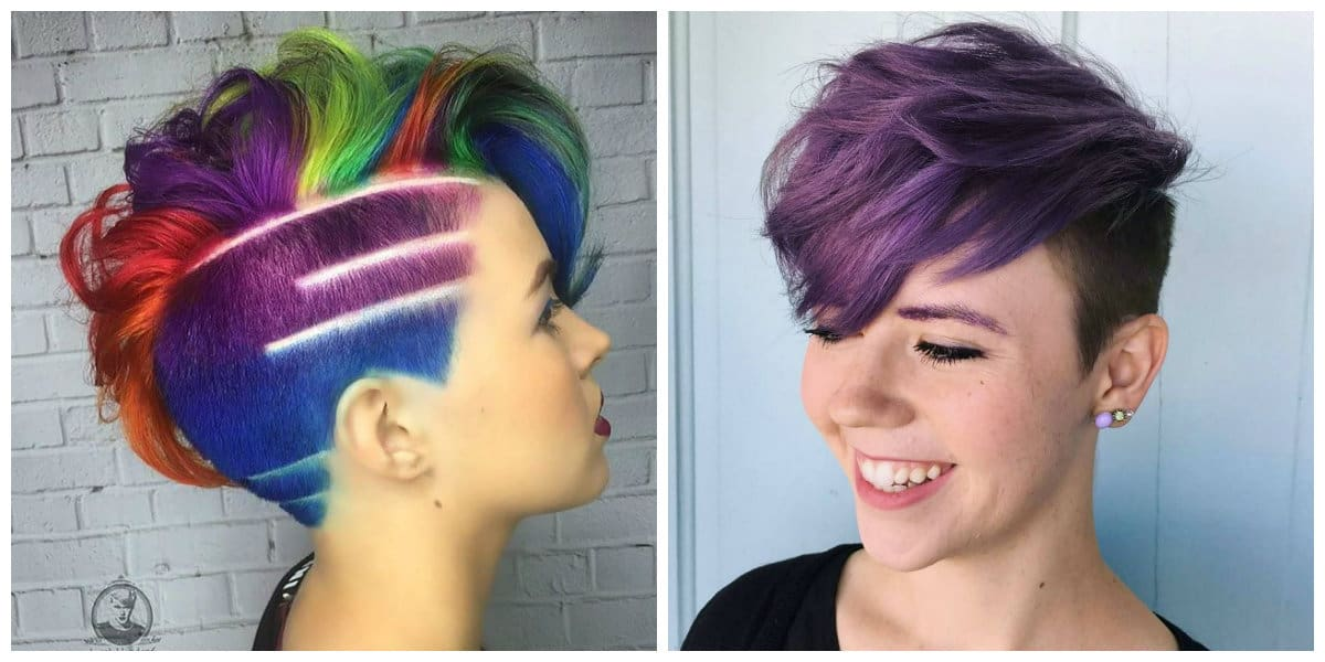 womens short hairstyles 2019, purple short hair, rainbow short hair