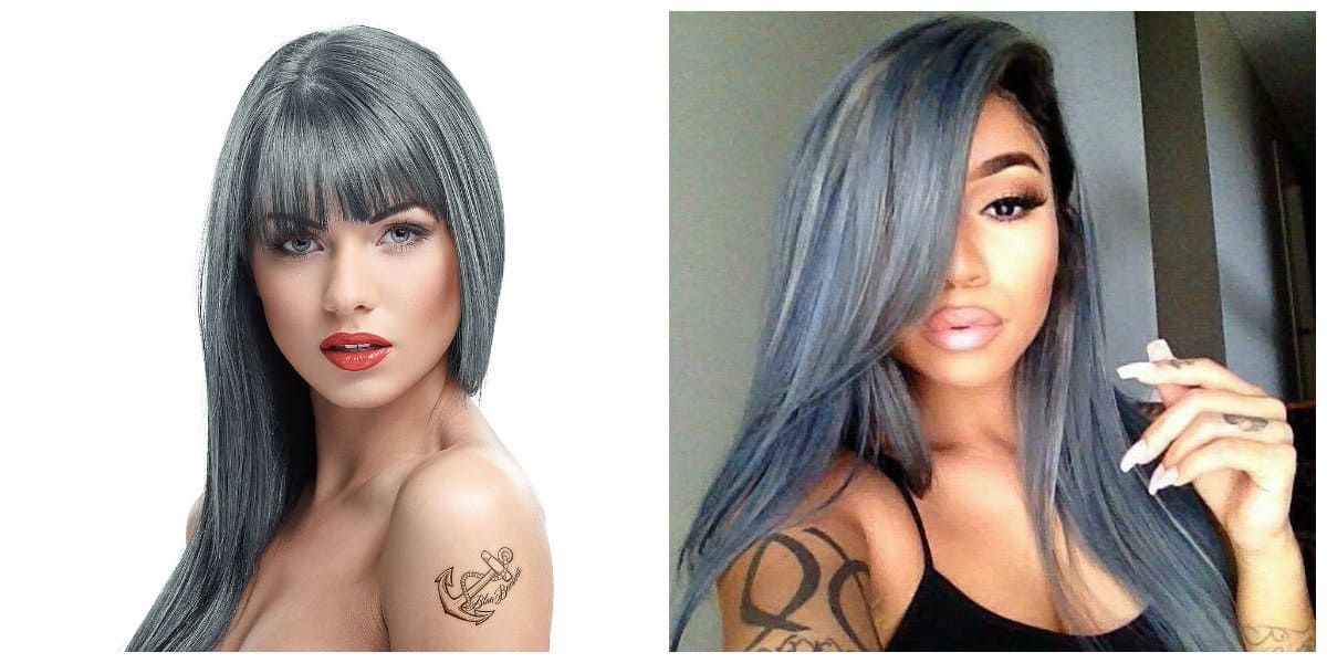 grey hair 2019, fashionable graphite hair color 2019