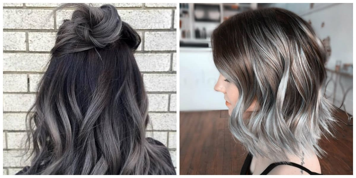 grey hair 2019, fashionable grey hair in ombre technique