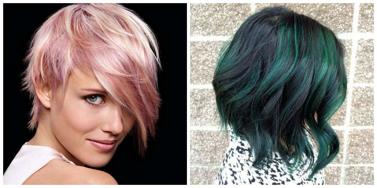 short layered hairstyles 2019, green short layered hair, pink short layered hair