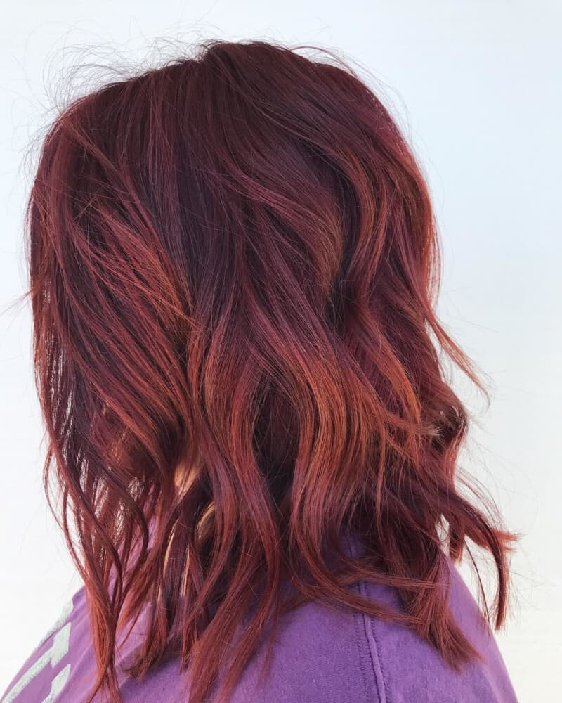 Red hair combined with long bob haircut 2020