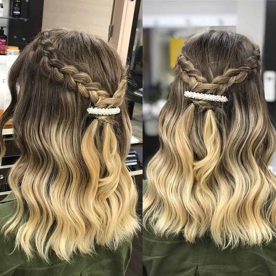 Light curls combined with ombre coloring technique haircut 2020