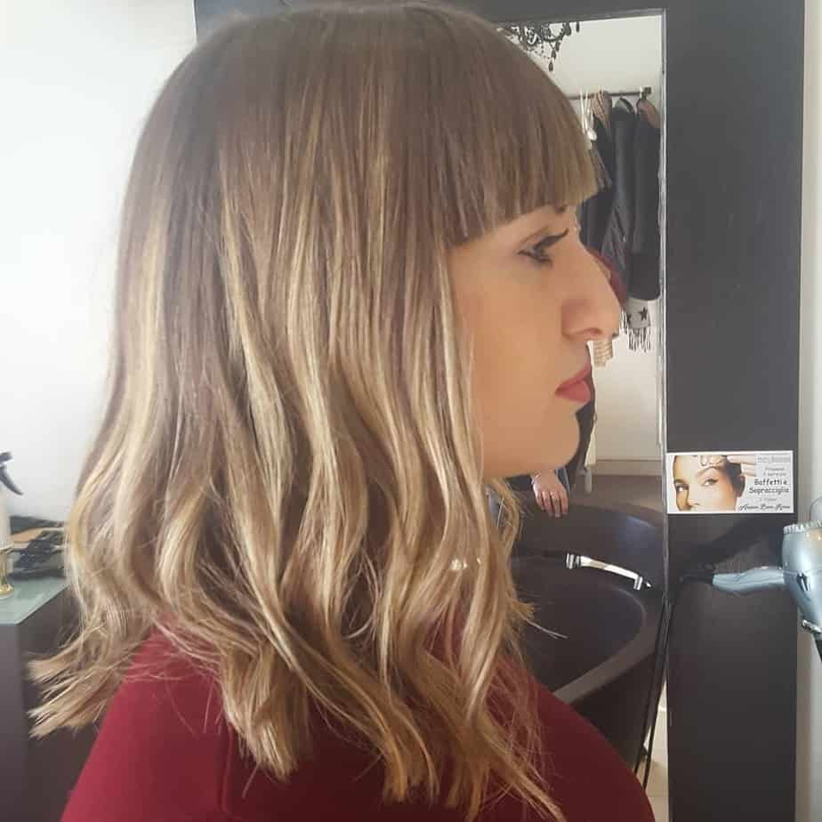 Neat bob on medium hair without bangs