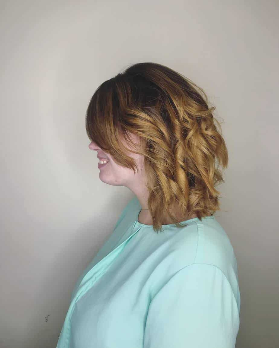 Side swept bangs with waves