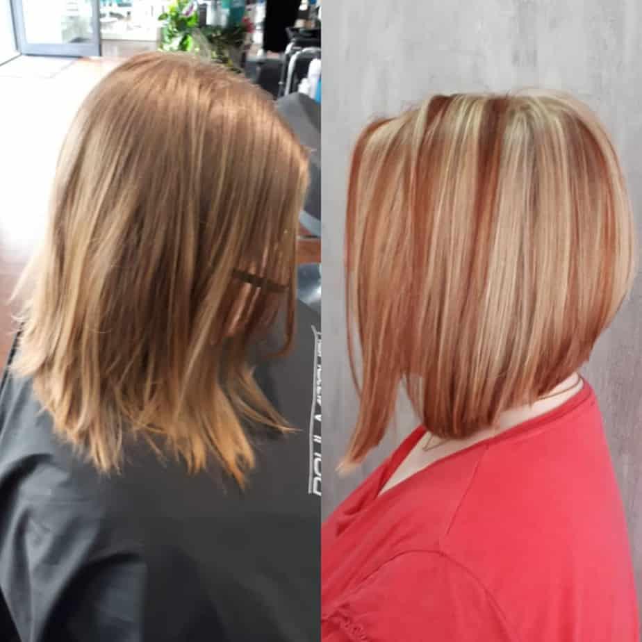 Bright highlighting technique on short bob hairstyles 2022
