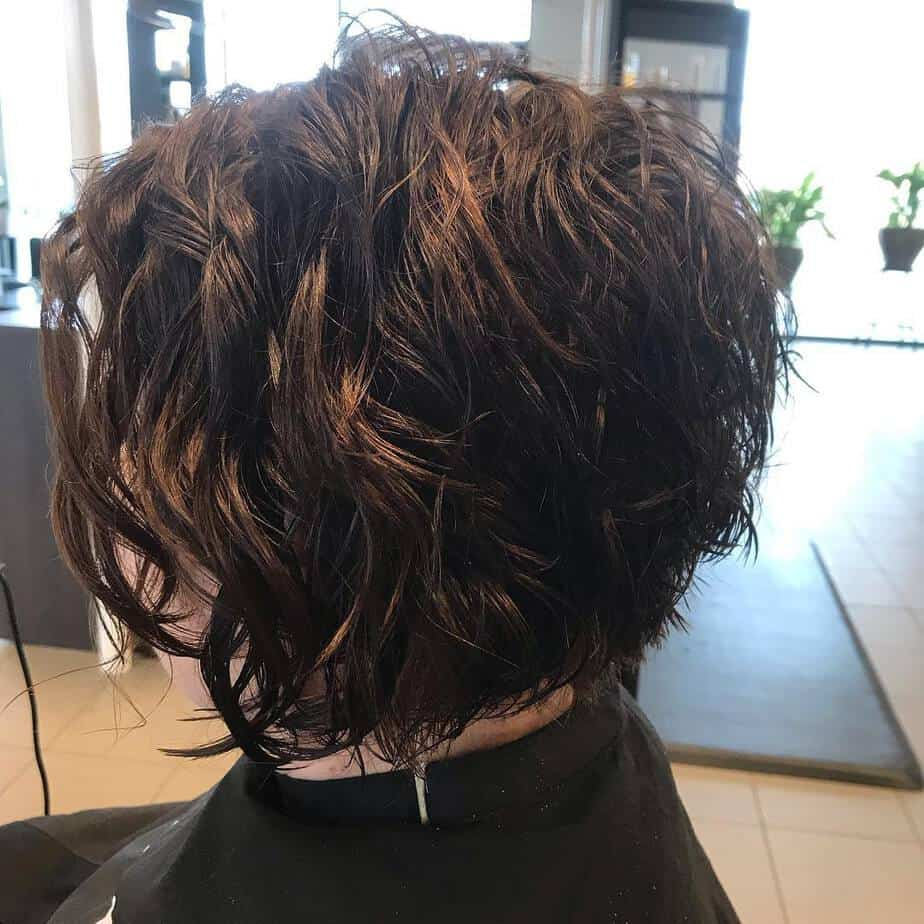 Short curly bob with layered tips