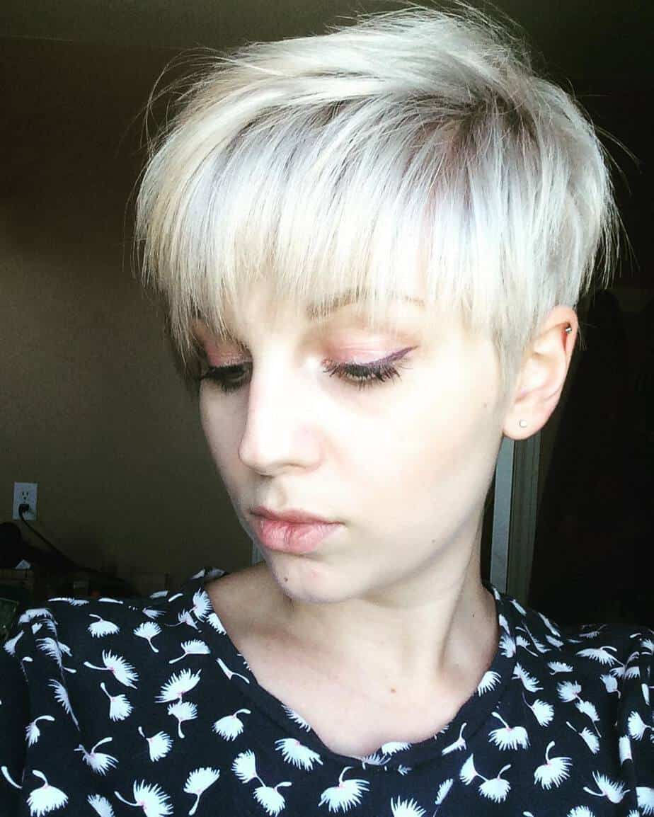 Straight pixie with straight bangs: womens short hairstyles 2020