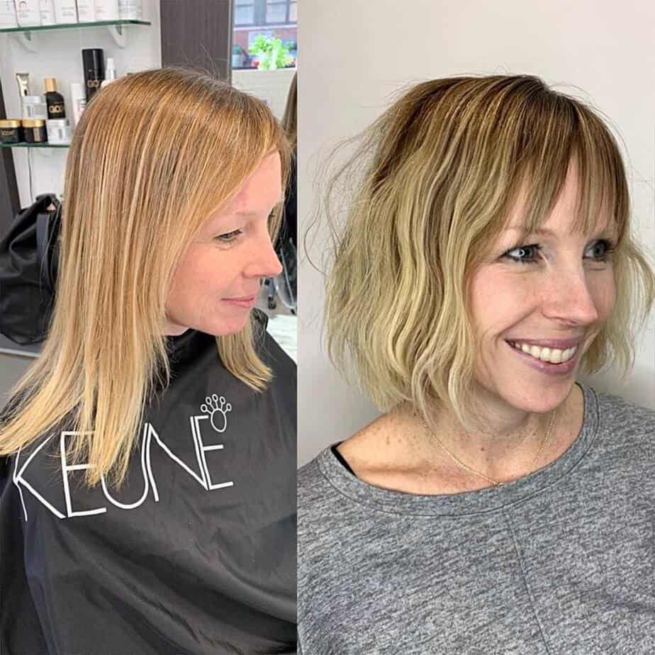 Rounded bob and bangs